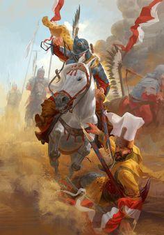 Hussar attack on Ottoman camp during the siege of Vienna Poland History, Art History, Military Art, Military History, Samurai, Templer, Knight Art, Dark Fantasy Art, Medieval Fantasy