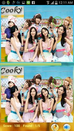Find Differences Kpop SNSD is the kpop game that let you find the differences between 2 pictures. This game has been created for Kpop fans, especially for SNSD fans around the world.<p>The story of SNSD<br>Girls' Generation (Hangul: 소녀 시대; Japanese: 少女時代, also known as SNSD or So Nyeo Shi Dae) is a South Korean girl group formed by S.M. Entertainment in 2007.[1] The nine-member group consists of Taeyeon, Jessica, Sunny, Tiffany, Hyoyeon, Yuri, Sooyoung, Yoona and Seohyun.<p>Game Feature<br…