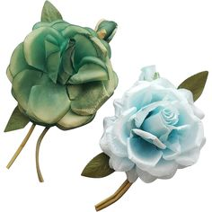 Two vintage silk rose corsage pins from the 1960s; vanity Va Voom.  Measurements : Large rose blossoms, one in shades of green and one in shades of
