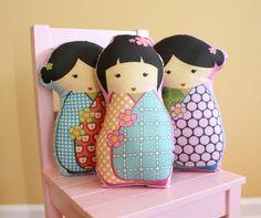 PETUNIAS' Kokeshi Doll Pillow -  stuffed japanese kimono plush softie room decor toddler baby gift photo prop toy pillow ready to ship.
