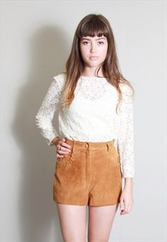 Vintage 1970's Amazing Tan Laced Suede Shorts