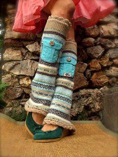 yummy LEG WARMERS with POCKETS Flared leg warmers Sea от GPyoga