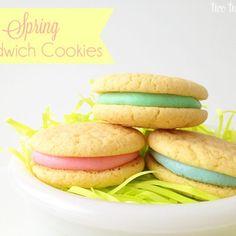 spring sandwich cookies - recipe in foodie Easy Sugar Cookies, No Bake Cookies, Easter Cookies, Mothers Cookies, Easter Treats, Yummy Cookies, Butterball Recipe, Sandwich Cookies, Sandwich Cake