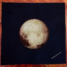 This is an instant PDF download of a cross-stitch pattern for the planet Pluto. Lots of fun to make!  When stitched on 14-count black Aida cloth, the