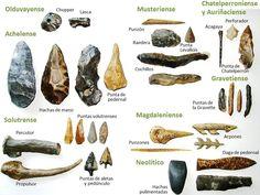 """Esta """"caja de herramientas"""" contiene un recorrido cronológico por la evolución de nuestra tecnología, desde los primeros choppers de hace más de 2 millones de años hasta las hachas pulimentadas del... Native American Tools, Native American Artifacts, American Indians, Indian Artifacts, Ancient Artifacts, Human Evolution Tree, Stone Age Boy, Stone Age Tools, Primitive Survival"""