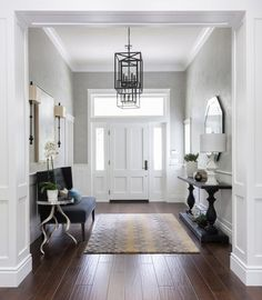 45 Amazing Ideas Small Front Entryway Decor 76 Foyer Furniture Small Couch and Console Table House Of Turquoise Gilmore Design Studio 9 Entrance Foyer, Entry Hallway, House Entrance, Entrance Halls, Grand Entryway, Entryway Stairs, Wainscoting Hallway, Wainscoting Panels, Grand Entrance