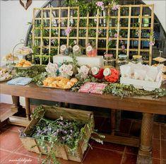 LA COMUNIÓN DE MARINA Candy Table, Candy Buffet, Rustic Wedding, Wedding Ideas, Catering, Backyard, Table Decorations, Bar Food, Home Decor