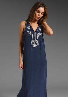 CENTRAL PARK WEST Embroidered Silk Maxi Dress in Navy