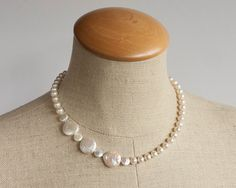 Asymmetry in white - pearl necklace, freshwater pearls, coin pearls, round, hand knotted, silk, modern, gift for her, christmas