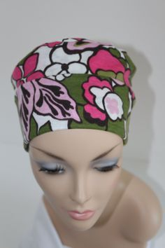 37547f2ae17 Chemo Hats Cancer Cap Cotton Jersery Knit in Pink and Green Flower Pattern  Free Ship in USA