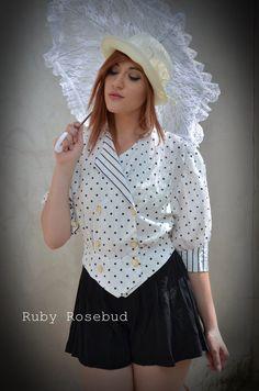 Vintage Polka Dot and Stripe print blouse by arubyrosebud on Etsy