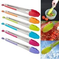 Black Kitchen Tongs,ONDY Stainless Steel Non-Stick Heavy Duty Cooking Tongs with Silicone Heads and Stands Design for Cooking,Salad,BBQ,Serving,Set of 9 12 Inch