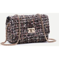 SheIn(sheinside) Multicolor Woolen Box Bag With Chain Strap (38 BAM) ❤ liked on Polyvore featuring bags, handbags, shoulder bags, chain-strap handbags, vintage shoulder bag, chain handbags, vintage purses and multi colored handbags