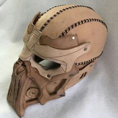 Leather mask by Rockwell Masks. Right after shaping, before accessories. Leather Mask, Leather Armor, Leather Tooling, Oni Maske, Cosplay Armor, Armor Concept, Masks Art, Fantasy Armor, Body Armor