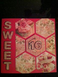 Leuke sweet 16 kaart gemaakt met de hexagon snijmal van Boekenvoordeel.