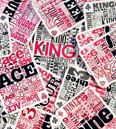 Rachel Poulin: The Oversized Typography Cards | more here: http://playingcardcollector.net/2013/04/30/oversized-typography-cards-by-rachel-poulin/