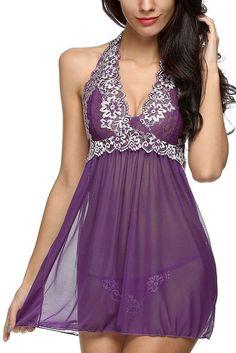 $12.26 Lace Patchwork Purple Halter Sleepwear Babydoll Lingerie Set https://www.modeshe.com #modeshe @modeshe #Purple