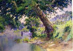 North Elkhorn Mill Pond - Watercolor by american impressionist & Kentucky artist Paul Sawyier