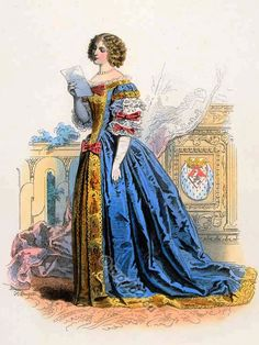 French Baroque Costume - Fashion in reign of Louis XIV, 1661, Louise-Françoise de La Baume le Blanc, duchess de La Vallière (1644-1710), maid of honour and mistress of Louis XIV.