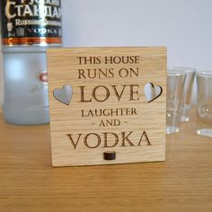 This House Runs on Love Laughter and Vodka – Personalised Oak Wooden Sign - Pretty Personalised