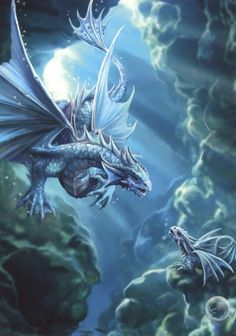 Dragon card by Anne Stokes. For added fun, the inside of the card includes illustrated facts about the dragon, including size, habitat and distinguishing features! Mythical Creatures Art, Magical Creatures, Fantasy Creatures, Dragon Age, Blue Dragon, Fantasy Kunst, Fantasy Art, Anne Stokes Dragon, Fantasy Wesen