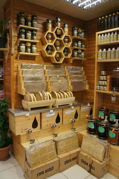 NEED those honeycomb shelves! Honey Store, Honey And Co, Honey Label, Bee Shop, Honey Packaging, Bee House, Bee Farm, Bee Design, Save The Bees