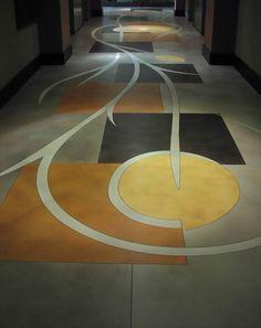 Stained Floor, Geometric Shapes Concrete Floors Richard Smith Custom Concrete Canoga Park, CA