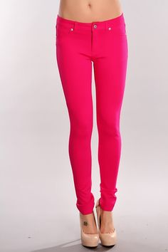 These amazing jeggings will accentuate your curves and with its vibrant colors theyll make sure to make you stand out! Featuring button fly, belt loops, front zipper closure, front and back pockets, stretch fit material, and fitted. 65% Cotton 32% Polyester 3% Spandex