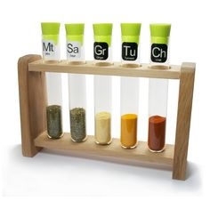 Turn your kitchen into a flavour laboratory and mix up spicy new recipes with an array of tempting tastes. The Test Tube Spice Rack comes complete with five glass test tubes, silicone stoppers to maintain freshness and a traditional wooden rack. The 36 easy-peel herb labels, in the style of chemical symbols, are only for fun, but they're still a winning formula for any stylish kitchen.Product includes:36 reusable stick-on spice labels in the style of chemical symbolsSpices not included P...