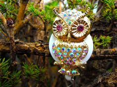 Designer Crystal Owl Badge Reel  by BadgeAlleybyGerAnne on Etsy