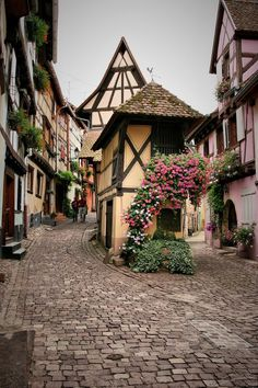 Medieval Village, Eguisheim, France... This reminds me of the town in Beauty and the Beast and I love it.