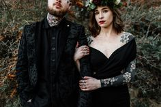 Moody indie gothic wedding with tattoo couple and a black wedding dress / alternative london and Kent wedding photography Epic Love Story Punk Wedding, Gothic Wedding, Quirky Wedding, Wedding Music, Alternative Bride, Alternative Wedding Dresses, Wedding Photography Inspiration, Wedding Inspiration, Wedding Ideas