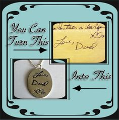 Memorial Jewelry Your Actual Loved Ones Writing Silver Necklace - Made to order