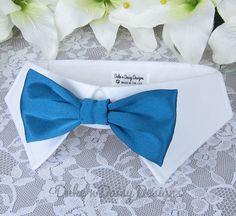 Teal Satin Wedding Dog Bowtie Dog Bow Tie Dog by DukeNDaisyDesigns, $28.50