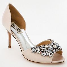 Badgley Mischka Wedding Shoes. Spectacular pink heels with fabulous crystal beading at the toe. Glamorous bridal shoes 4 walking down the aisle.