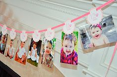 Just Born/0-12 mos banner; First Birthday Banner; Photo Banner; Picture Banner. Cupcake Photo Banner.