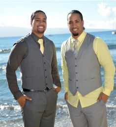 Jon & Josh Fatu (The Usos) at Jon's January 2014 wedding in Hawaii