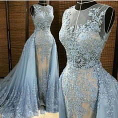 Blue Gorgeous Unique Applique Seen Through Long Prom Dresses, PM0072