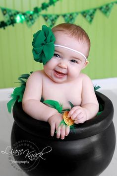 St Patricks Day Headband Green Fabric Flower by bellasbowtique2008, $9.99