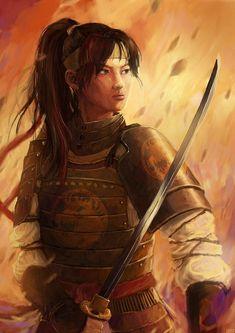Samuraia Matsu Kinihara by yilin-tan on DeviantArt 149x210mm Fantasy Samurai, Samurai Warrior, Female Samurai Art, Ninja Warrior, Amaterasu, Fantasy Inspiration, Character Inspiration, Oriental, Fantasy Characters