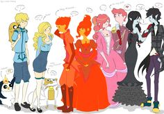 Gunther, Finn, Jake, Fionna, Cake, Flame Prince, Flame Princess, Bubblegum, Gumball, Marceline, and Marshall Lee http://gerald-pilcher.com