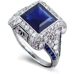 Art Deco engagement ring of sapphires and diamonds - I don't need an engagement ring but it's still beautiful!! I'm thinking right hand ring!! =)