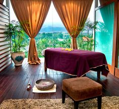Luxury spa room with wood flooring