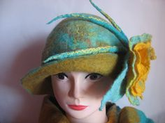 Rolled Brim Hat with Flower by Bozena Podliasinska