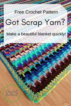 Scrap Yarn Stash-Buster Blanket Free Crochet Pattern – Crochet Instinct Hannah's Motifs Afghans, Afghan Crochet Patterns, Crochet Stitches, Crochet Bedspread, Crochet Blocks, Crochet Pillow, Knitting Patterns, Crochet Afgans, Free Crochet