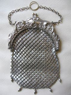 Antique Victorian Art Nouveau G Silver Mesh Chain Mail Chatelaine Tassel Purse #EveningBag