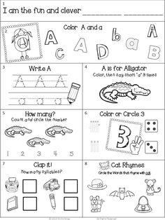 August homework freebie for kindergarten Kindergarten Homework, Kindergarten Worksheets, Kindergarten Morning Work, Homeschool Worksheets, Phonics Worksheets, Homeschooling, Smart Board Activities, Fun Activities For Kids, English Activities