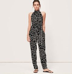 $64, Beach Giraffe Print Halter Jumpsuit by LOFT. Sold by LOFT. Click for more info: http://lookastic.com/women/shop_items/54760/redirect
