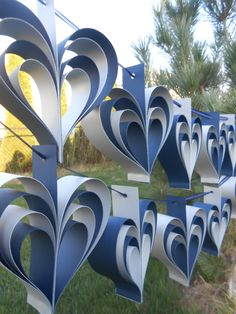 TWO Garlands Of NAVY & SILVER Hearts. 10 Hearts. Wedding, Shower Decoration, Home Decor. Custom Orders Welcome. Any Color Available. by TreeTownPaper on Etsy