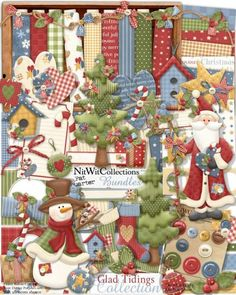 Digital scrapbooking cute Christmas kit and card making cute Christmas kit.  Even the snowman dressed up for the Season! FQB - Glad Tidings Collection